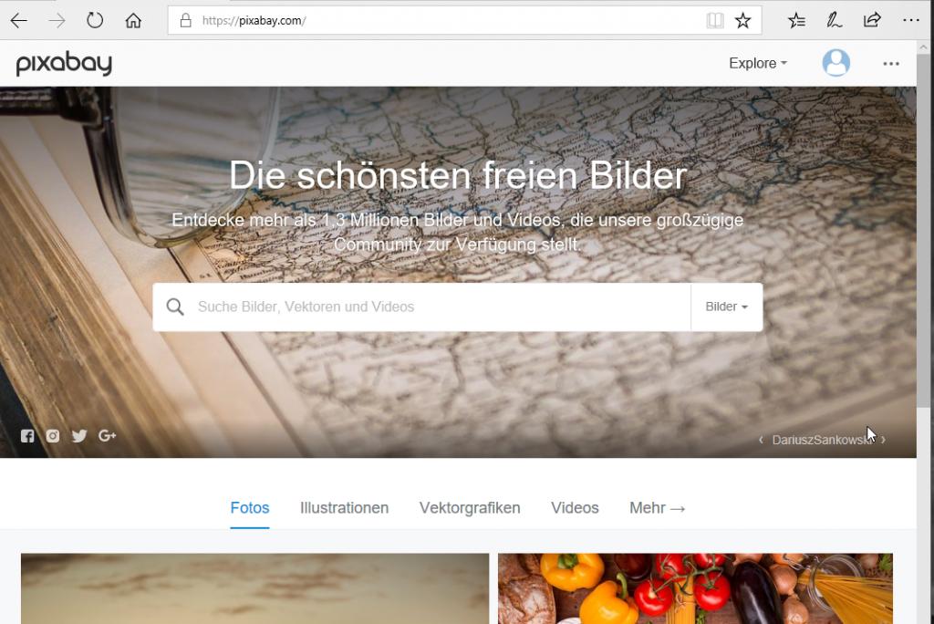 Screenshot der Pixabay-Webseite